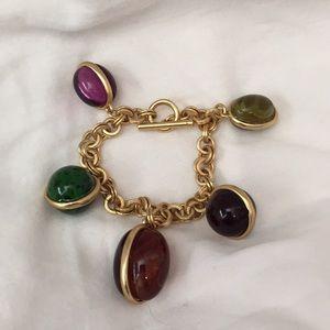 "Beautiful Fashion Bracelet In Multi Color Gold 7""."